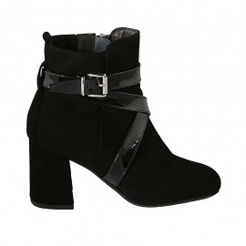 Woman's ankle boot with zipper and buckle in black suede and patent leather heel 7 - Available sizes:  32, 33, 34, 42, 43, 44, 45
