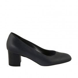 Woman's pump with rounded tip in blue leather heel 5 - Available sizes:  32, 33, 34, 42, 43, 44, 45