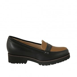 Woman's mocassin in black and brown leather heel 3 - Available sizes:  32, 33, 34, 42, 43, 44, 45