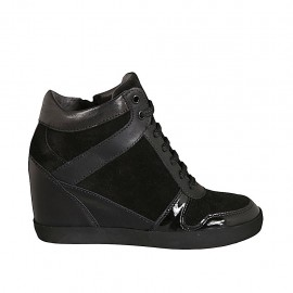 Woman's laced shoe with zipper in black leather, patent leather and suede wedge heel 6 - Available sizes:  33, 34
