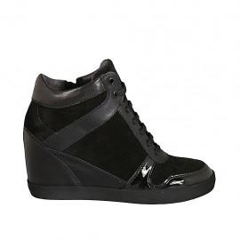 Zapato para mujer con cordones y cremallera en piel, charol y gamuza negra cuña 6 - Tallas disponibles:  33, 34