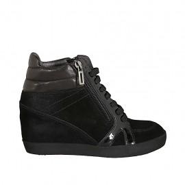 Zapato para mujer con cordones y cremalleras en piel, charol y gamuza negra cuña 6 - Tallas disponibles:  32, 33, 34