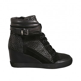 Woman's laced shoe with buckle and zipper in black leather, suede and printed spotted suede wedge heel 6 - Available sizes:  32, 33, 34