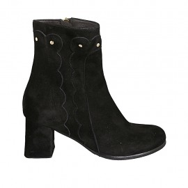 Woman's ankle boot with studs and zipper in black suede heel 6 - Available sizes:  32, 33, 34, 42, 43, 44, 45, 46