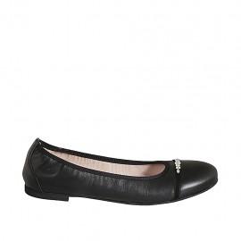 Woman's ballerina shoe in black leather with rhinestones heel 1