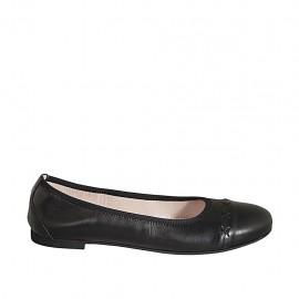 Ballerine pour femmes en cuir noir talon 1 - Pointures disponibles:  42, 43, 44, 45, 46, 47
