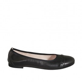 Woman's ballerina in black leather heel 1 - Available sizes:  42, 43, 44, 45, 46, 47