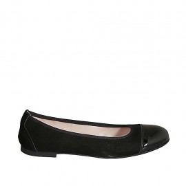 Woman's ballerina shoe in black patent leather and suede heel 1