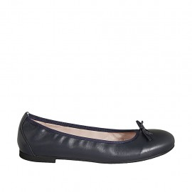 Woman's ballerina with bow in blue leather heel 1 - Available sizes:  42, 43, 44, 45, 46, 47