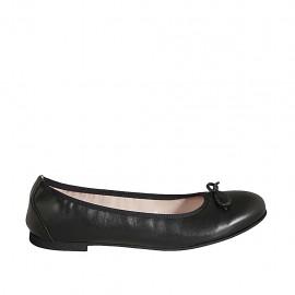 Ballerine pour femmes en cuir noir avec noeud talon 1 - Pointures disponibles:  42, 43, 44, 45, 46