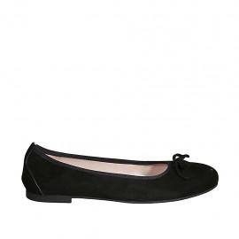 Ballerine pour femmes avec noeud en daim noir talon 1 - Pointures disponibles:  42, 43, 44, 45, 46, 47