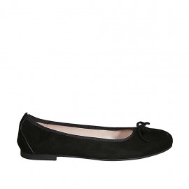 Woman's ballerina with bow in black suede heel 1 - Available sizes:  42, 43, 44, 45, 46, 47