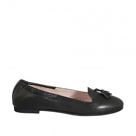 Woman's loafer with elastic band and tassels in black leather heel 1 - Available sizes:  42, 43, 44, 45, 46, 47