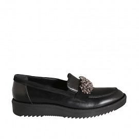 Woman's loafer in black leather with rhinestones wedge heel 3 - Available sizes:  42, 43, 44, 45