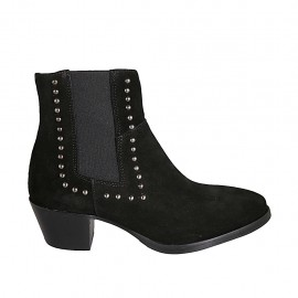 Woman's Texan ankle boot with zipper, elastic and studs in black suede heel 5 - Available sizes:  33, 34, 42, 43, 44, 45, 46