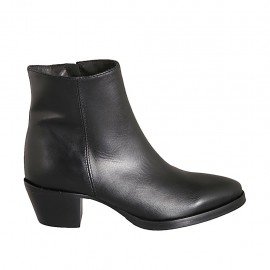 Woman's Texan ankle boot with zipper in black leather heel 5 - Available sizes:  33, 34, 42, 43, 44, 45, 46