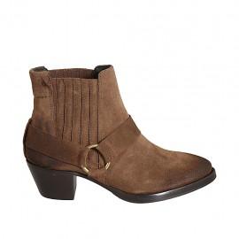 Botines tejanos para mujer con elasticos en gamuza brun claro tacon 5 - Tallas disponibles:  33, 34, 42, 43, 44, 45, 46