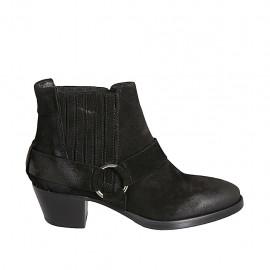 Botines tejanos para mujer con elasticos en gamuza negra tacon 5 - Tallas disponibles:  33, 34, 42, 43, 44, 45, 46
