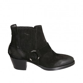 Woman's Texan ankle boot with elastic bands in black suede heel 5 - Available sizes:  33, 34, 42, 43, 44, 45, 46