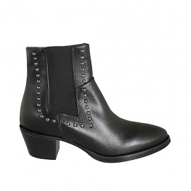 Woman's Texan ankle boot with zipper, elastic and studs in black leather heel 5 - Available sizes:  33, 34, 42, 43, 44, 45, 46