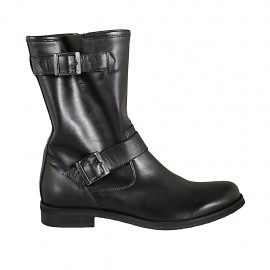 Woman's ankle boot with zipper and buckles in black leather heel 2 - Available sizes:  42, 43, 44, 45, 46