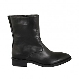 Woman's ankle boot with zipper in black leather heel 3 - Available sizes:  42, 43, 44, 45