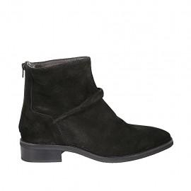 Botines para mujer en gamuza negra con cremallera posterior tacon 3 - Tallas disponibles:  42, 43, 44, 45, 46