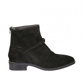 Woman's ankle boot in black suede with backside zipper heel 3 - Available sizes:  42, 43, 44, 45, 46