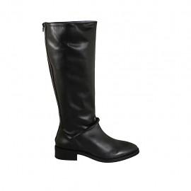 Botas para mujer con cremallera en la parte trasera en piel negra tacon 3 - Tallas disponibles:  42, 43, 44, 45, 46