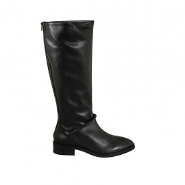 Woman's boot with posterior zipper in black leather heel 3 - Available sizes:  42, 43, 44, 45, 46