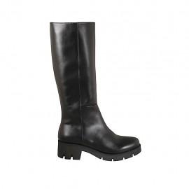 Botas para mujer con cremallera en piel negra tacon 5 - Tallas disponibles:  42, 43, 44