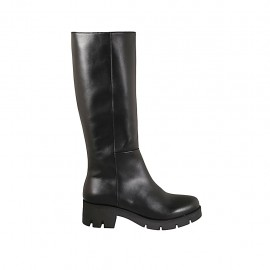 Woman's boot with zipper in black leather heel 5 - Available sizes:  42, 43, 44