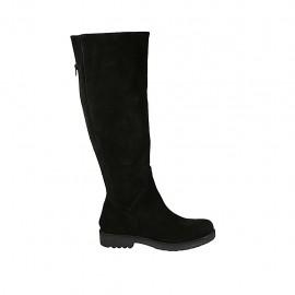 Bota a la rodilla para mujer con cremallera posterior en gamuza negra tacon 3 - Tallas disponibles:  42, 43, 44, 45, 46