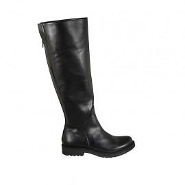 Kniehoher Damenstiefel mit hinterem Rei?verschluss aus schwarzem Leder Absatz 3 - Verfügbare Größen:  42, 43, 44, 45, 46