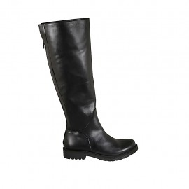 Woman's knee-high boot with back zipper in black leather heel 3 - Available sizes:  43, 44, 46
