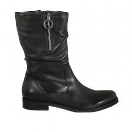 Botas de media caña para mujer con medias cremalleras en piel negra tacon 2 - Tallas disponibles:  42, 43, 44, 45, 46