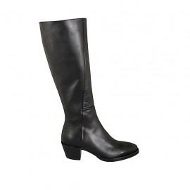 Texanischer Damenstiefel mit Reißverschluss aus schwarzem Leder Absatz 5 - Verfügbare Größen:  33, 34, 42, 43, 44