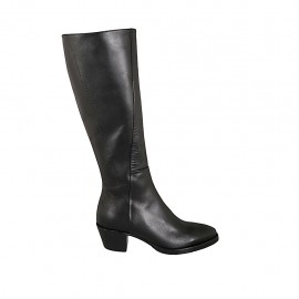 Woman's Texan boot with zipper in black leather heel 5 - Available sizes:  33, 34, 42, 43, 44