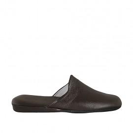Men's slippers in dark brown leather