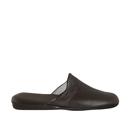 Men's slippers in dark brown leather - Available sizes:  47, 48, 49, 50