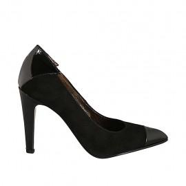 Zapato de salon para mujer en gamuza y charol negro tacon 9 - Tallas disponibles:  32, 33, 34, 42, 43, 44