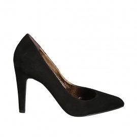 Zapato de salon en gamuza negra para mujer tacon 9 - Tallas disponibles:  32, 33, 34, 42, 43, 44, 45