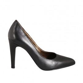 Zapato de salon puntiagudo en piel negra tacon 9 - Tallas disponibles:  32, 33, 34, 42, 43, 44