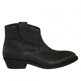 Woman's Texan ankle boot with zipper in black leather heel 3 - Available sizes:  42, 43, 44