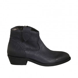 Woman's Texan ankle boot with zipper in blue leather heel 3 - Available sizes:  33, 34, 42, 43, 44, 45