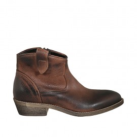 Woman's Texan ankle boot with zipper in tan brown leather heel 3 - Available sizes:  33, 42, 43, 44, 45