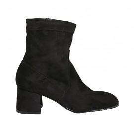 Bottines para mujer en gamuza elastica negra con cremallera tacon 5 - Tallas disponibles:  32, 33, 34, 42, 43, 44, 45