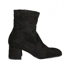 Woman's ankle boot in black elastic suede with zipper heel 5 - Available sizes:  32, 33, 34, 42, 43, 44, 45