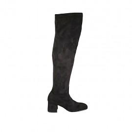 Schenkelhoher Damenstiefel mit halbem Reißverschluß aus schwarzem elastischem Stoff und Wildleder Absatz 5 - Verfügbare Größen:  34, 42, 43, 44, 45