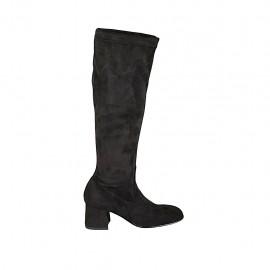 Bota para mujer con media cremallera en tejido elastico y gamuza negra tacon 5 - Tallas disponibles:  32, 33, 34, 42, 43, 44, 45